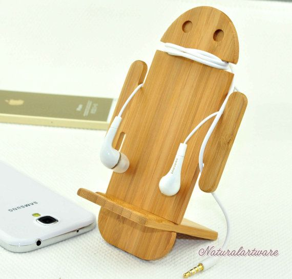 Natural wooden stands iphone phone by