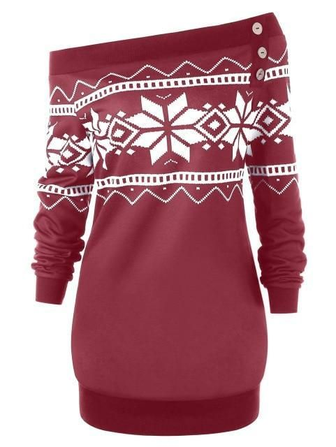 Gamiss Women Clothing Plus Size XL-5XL Skew Neck Snowflake Geometric P – liilg... 17