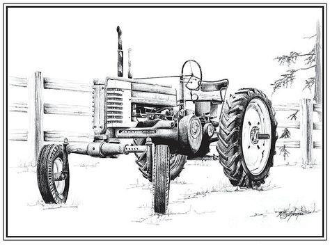 pencil tractor art | Deere Tractor Drawing by Kelly Morgan - John Deere Tractor Fine Art ...