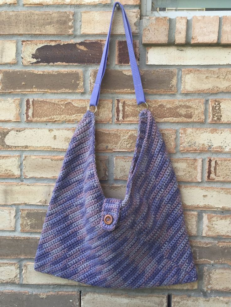 Large Crocheted Masa Bag in Variegated Lavender Shades, Lined, Crochet Slouch Bag, College Book Bag, Crochet Shoulder Bag, Bohochic Hobo Bag by TheHookster on Etsy