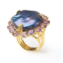 Ring with Keshi Peacock Pearl and Amethyst by Bounkit | Bounkit