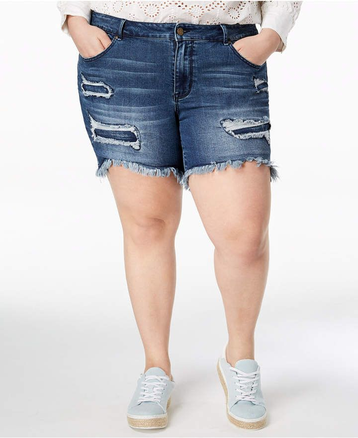 525edc6347 Plus Size Distressed Raw-Hem Bermuda Shorts #edge#bring#Bermuda ...