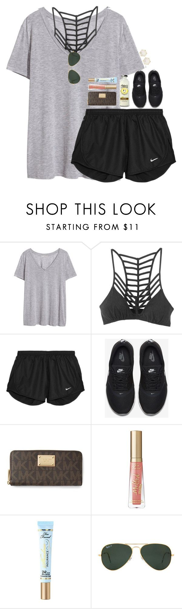 """clothes shopping!"" by hmcdaniel01 ❤ liked on Polyvore featuring H&M, RVCA, NIKE, MICHAEL Michael Kors, Too Faced Cosmetics, Ray-Ban, Ippolita and bestiesbacktoschool"
