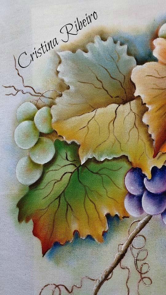 """Como pintar um galho de uvas com folhas. Projeto gratuito """"A parreira"""". ..."""