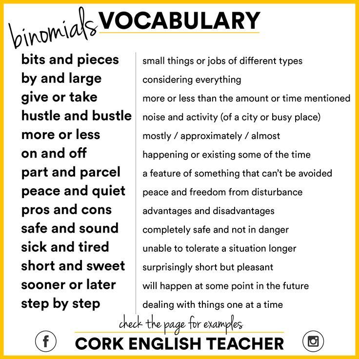 Vocabulary: binomials 1