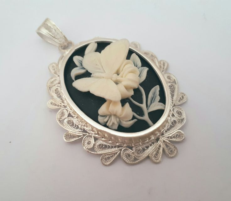 Handmade Silver Butterfly Cameo Pendant