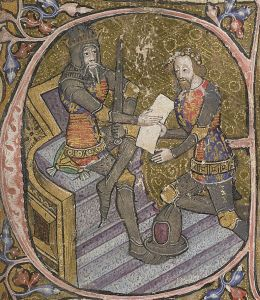 Edward III and his eldest son, Edward the Black Prince. Edward died one year before his father, becoming the first English Prince of Wales not to become King of England. The throne passed instead to his son Richard II following the death of Edward III. http://simon-rose.com/books/the-heretics-tomb/historical-background/