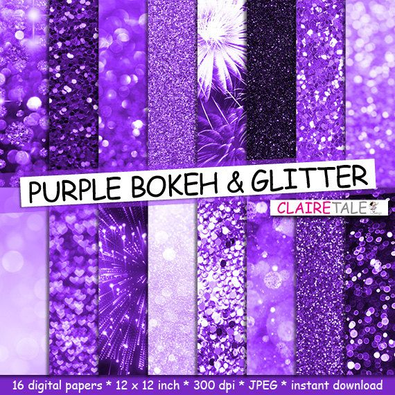 """Buy Purple digital paper: """"PURPLE BOKEH & GLITTER"""" with purple glitter background and purple bokeh background for photographers and scrapbooking by clairetale. Explore more products on http://clairetale.etsy.com"""