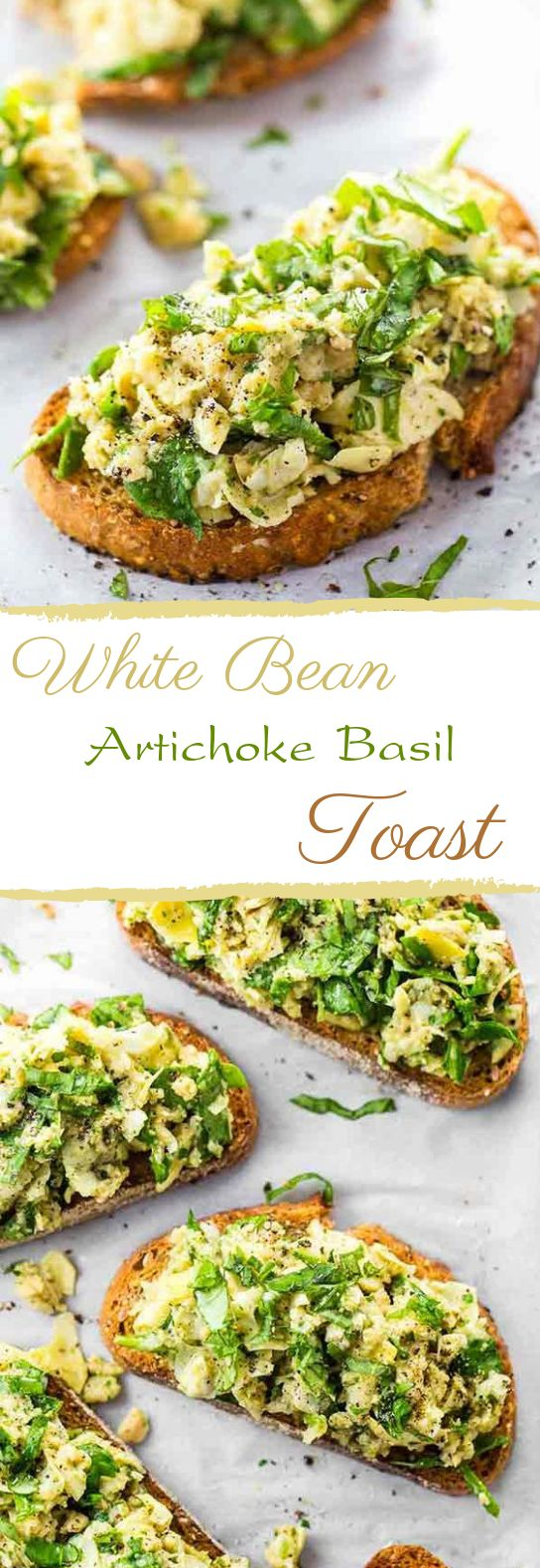 White Bean Artichoke Basil Toasts #breakfast #vegetarian