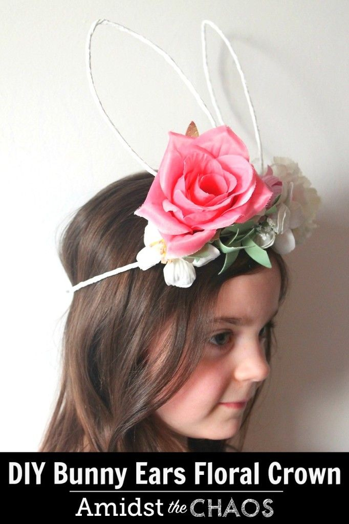 DIY Bunny Ears Floral Crown Tutorial - Amidst the Chaos