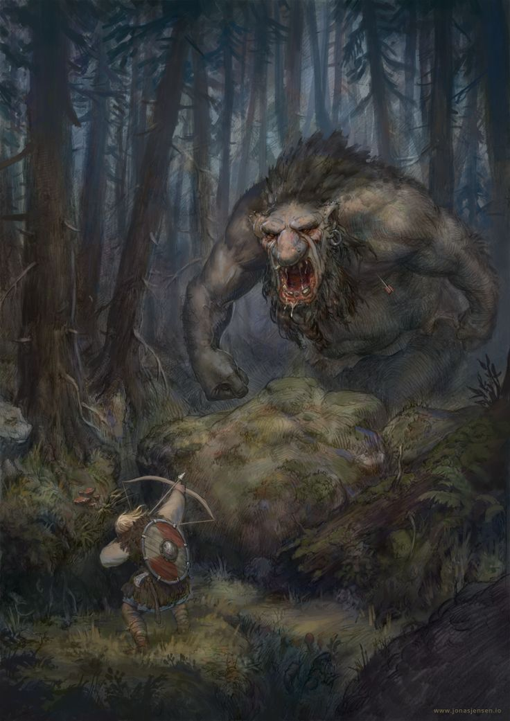 Forest encounter by JonasJensenArt.deviantart.com on @deviantART Not sure how or what trolls are in Norse my but I know the are there