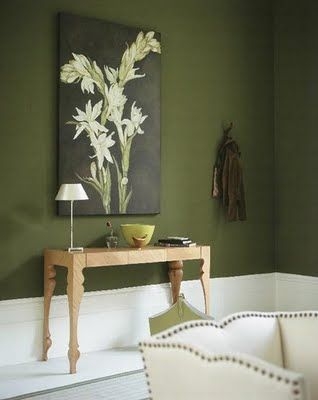 olive green walls would be beautiful in a dining room