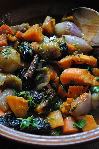 Israeli tajine of Sweet Potatoes, Carrots, and Prunes