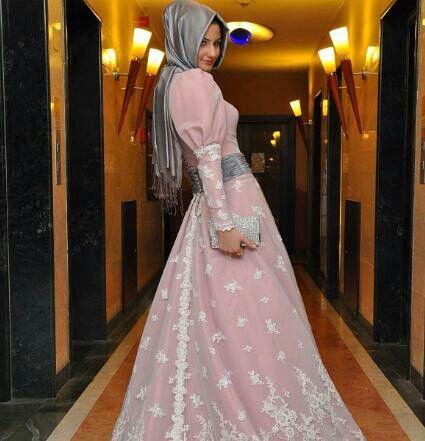 زهر Pink maxi dress hijab