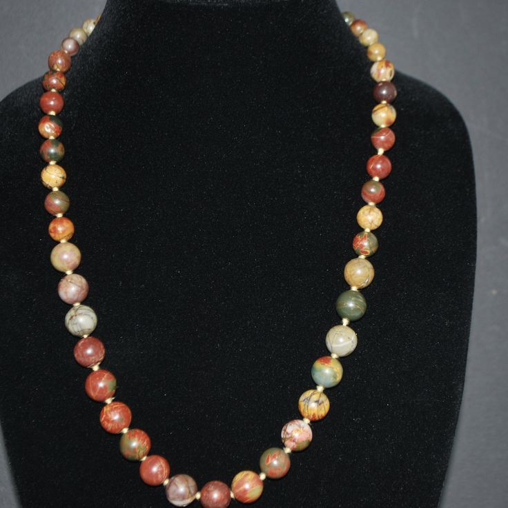 Genuine Picasso Jasper Gemstone Bead with Yellow Silk Hand knotted Thread Beaded Women/'s Necklace