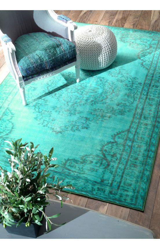 The overdyed, saturated color and intricate design just makes our hearts go pitter patter! Find this Winsdor Overdyed Grove Turquoise Rug and more traditional rugs on Rugs USA!