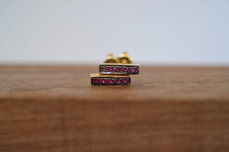 Mini Ruby Studs Solid 18k Gold Studs Gold Bar Earrings Line Bar Earrings Minimal Bar Earrings Modern Minimal Studs Boho Gold Studs Handmade by ViazisJewelry on Etsy