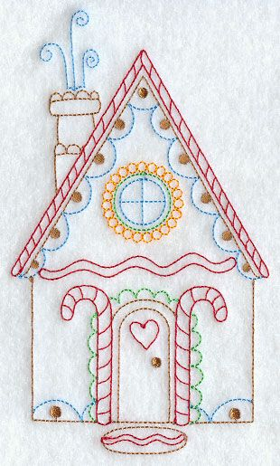 Machine Embroidery Designs at Embroidery Library! - Gingerbread House (Redwork)