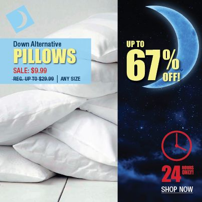 """Rest in comfort on these plump, polyester filled """"Down Alternative"""" pillows. The unique poly fibers mimic the softness and support of a natural down pillow, but the synthetic fibers are non-allergenic and ideal for those with asthma or allergies.  Shop now the sale ends at 4pm tomorrow!   http://www.beddingtons.com/p-6038-down-alternative-pillow.aspx  #Pillows #Sale #Bedding #Beddingtons #Bedroom #HomeDecor"""