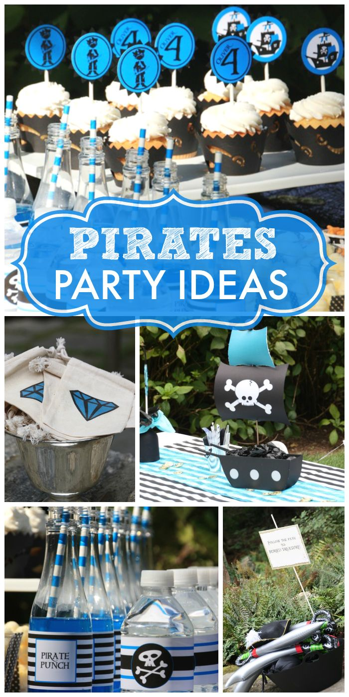A fun pirate boy birthday party with message in a bottle favors, a treasure hunt, and a pirate dress up!  See more party ideas at CatchMyParty.com!