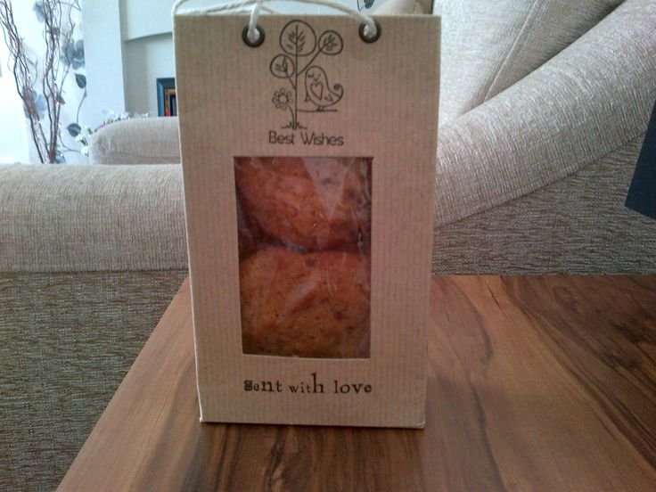 Gift bag made from brown paper, acetate & stamped images.....filled with home-made cookies
