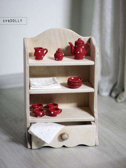 Кухонный буфет - мебель для куклы из дерева - бежевый,буфет кухонный,буфет игрушечный
