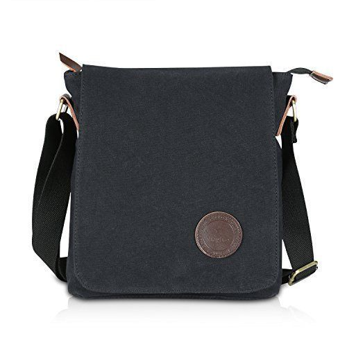 Womens Shoulder Messenger Bag Black Cotton Canvas Travel Daypack Shopping Gift  #WomensShoulderMessengerBagBlackCotton