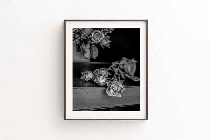 Photography/ Vintage Roses Print/ Black and White Photography/ Wall Art