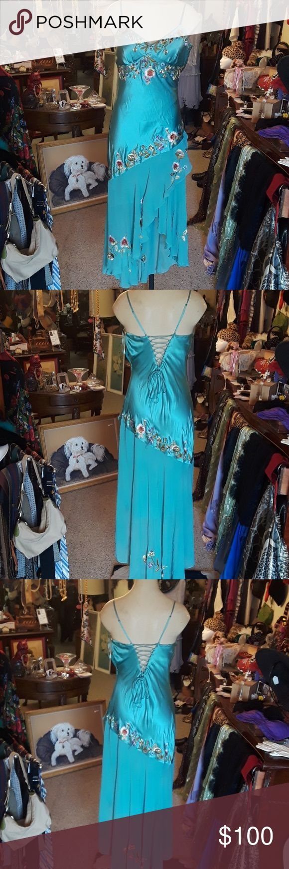 100% Silk Sue Wong Dress Gorgeous silk Sue Wong dress, scrappy, beautiful lace up back, Teal, embroidered, stain shown Sue Wong Dresses Asymmetrical