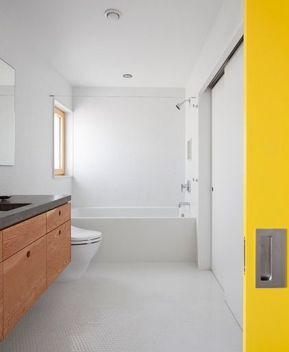 I like the unit and accent of yellow - maybe we could paint the old sliding door.