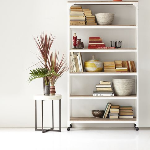 Whitewashed Wood Metal Shelves West Elm Globalist Mix Pinterest Modern Home Office