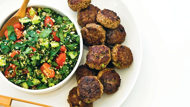 Real Living recipe for lamb koftas with rustic tabouli.