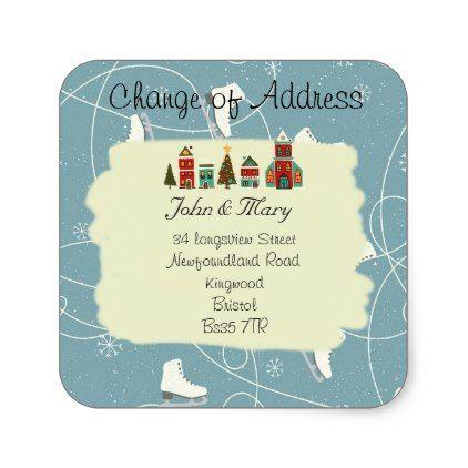 Change of Address sticker christmas - christmas craft supplies cyo merry xmas santa claus family holidays