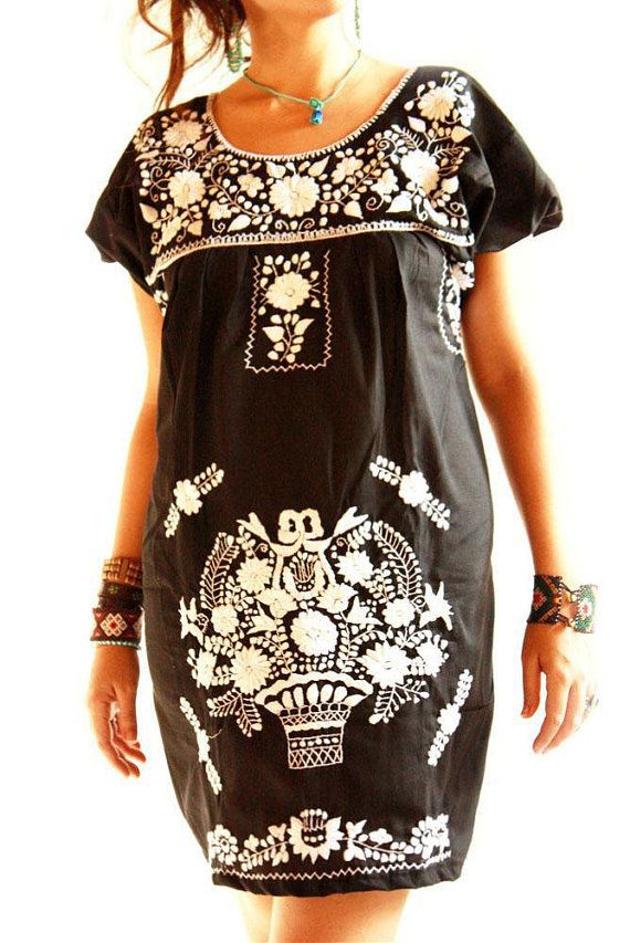 Aida Coronado - Obsidiana Mexican embroidered dress black w colorful or black w white embroidery I love everything about this brand/designer.