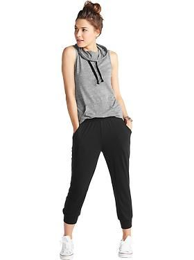 Making a trip to Old Navy ASAP. Sleeveless jersey hoodie $19.94 || harem-style cropped pants $19.94