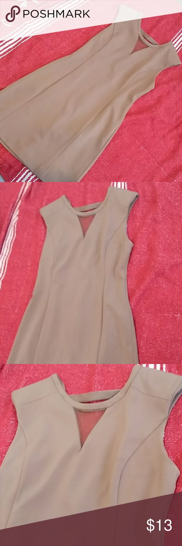 Beige mini dress (super classy!) Beige mini dress with sheer cutout under neckline with cap sleeves (slight padding) . Snap button strap on back with zipper. Forever 21 Dresses Mini