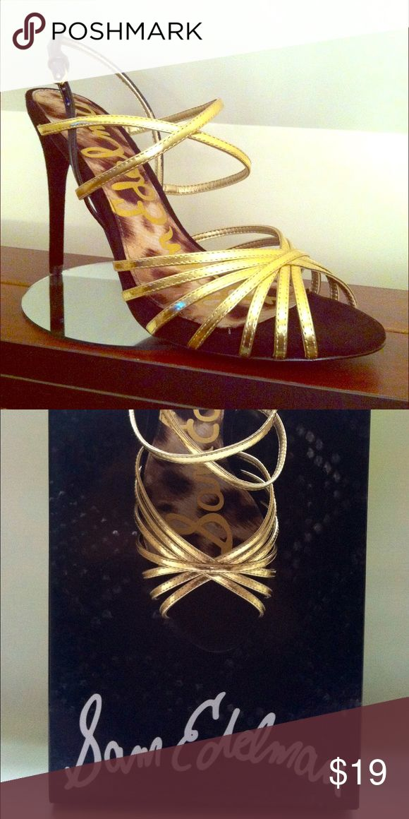 Strappy Harlette Strappy Gold Leather and Black Suede Sandal Sam Edelman Shoes