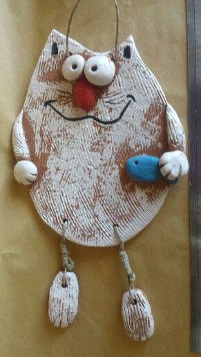 Gatto luneba, cat, ceramica, ingobbi