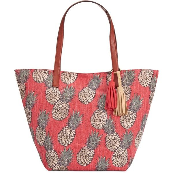 Lucky Brand Key West Linen Tote ($66) ❤ liked on Polyvore featuring bags, handbags, tote bags, red pineapple, red tote purse, red tote bag, lucky brand tote, lightweight purses and red purse