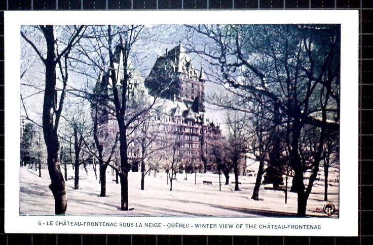 Lorenzo Audet Postcard Le Chateau-Frontenac sous la neige Winter view of the Chateau Frontenac 6 Postmarked not used Condition Very