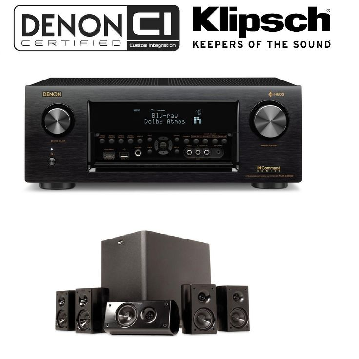 Denon Receiver Audio & Video Component Receiver,Black (AVRX4300H) + Klipsch HD 300 Compact 5.1 High Definition Theater System (Set of Six, Black) Bundle