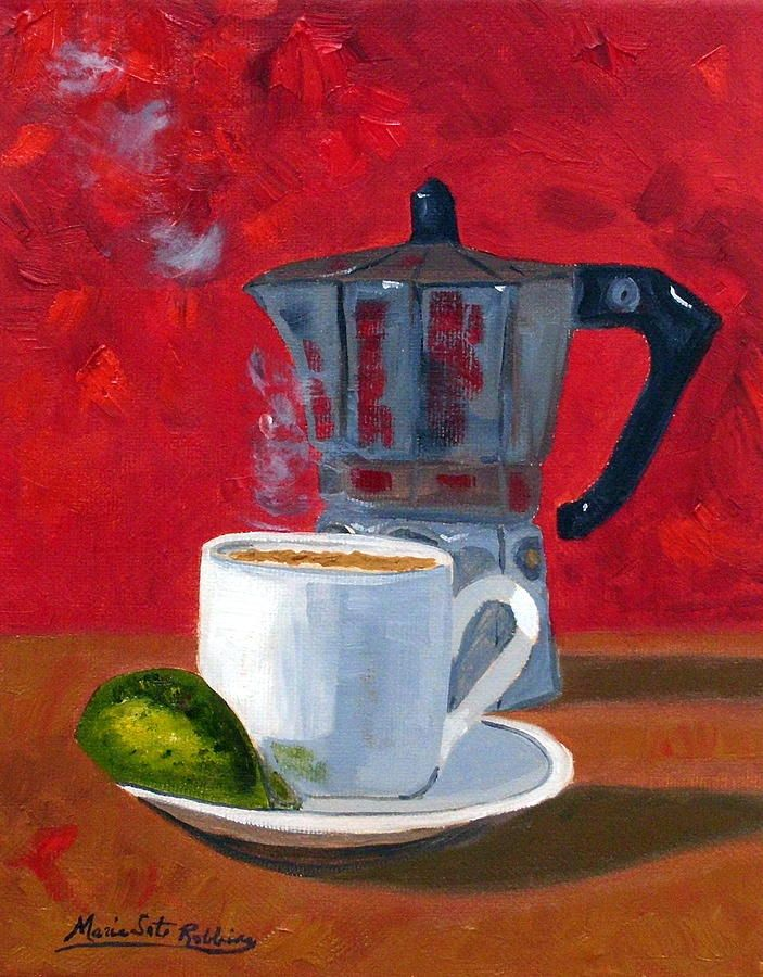 Cuban Art | ... Red R62012 Painting - Cuban Coffee And Lime Red R62012 Fine Art Print