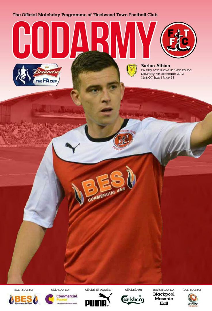 Fleetwood T. 1 Burton Albion 1 in Dec 2013 at Highbury Stadium. Programme cover for the FA Cup 2nd Round tie.