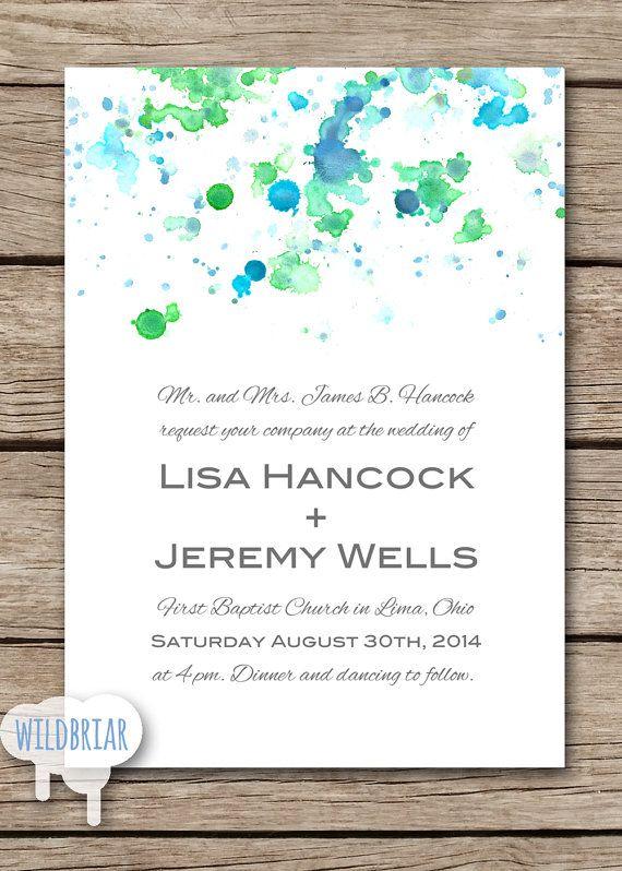 Watercolor Printable Wedding Invitation, Paint Splatter, blue green. Request custom colors