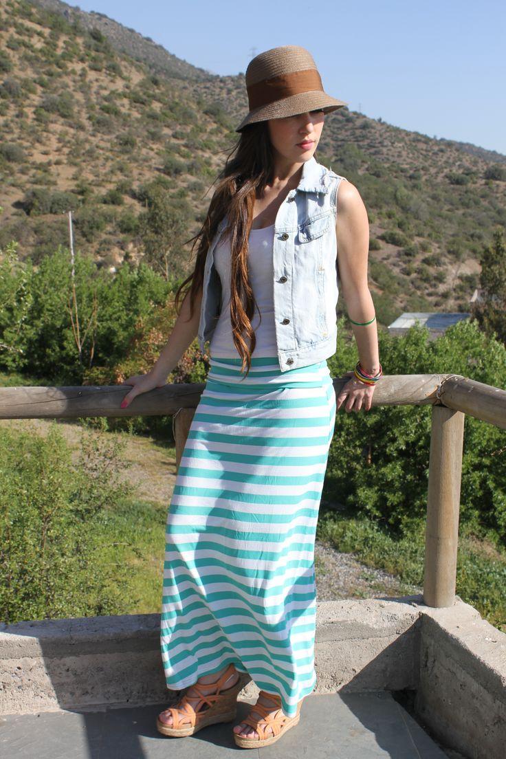 falda tubo a rayas verde agua algo que no puede faltar en tu CLOSET