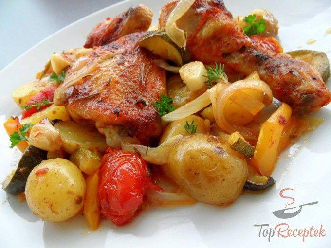 Tepsis csirkecomb burgonyával és zöldségekkel