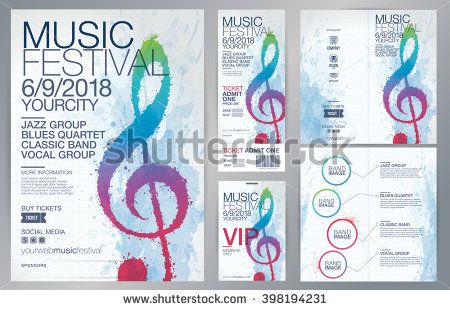 MUSIC. Set of templates with poster, brochure, ticket, program event and VIP. Treble clef illustration with brush strokes and colors. Texture watercolor effect. stock vector
