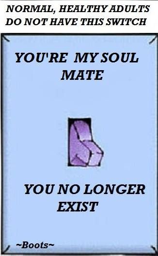 Normal, Healthy Adults Do Not Have This Switch: {You're my soul mate}<>{You no longer exist}