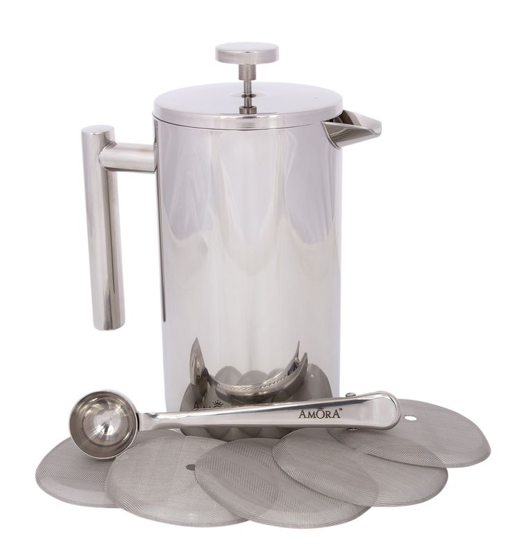 Amora 8-cup Stainless Steel French Press Coffee Maker - FREE Coffee Spoon & 5 Mesh Filters