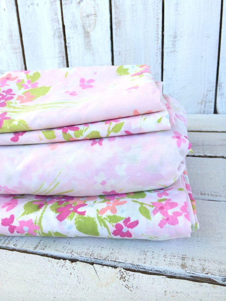 vintage complete sheet set full size bedding set burlington house pink floral full sheet by